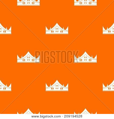 Royal crown pattern repeat seamless in orange color for any design. Vector geometric illustration
