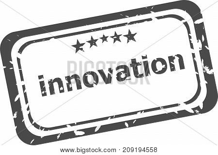 innovation on rubber stamp over a white background