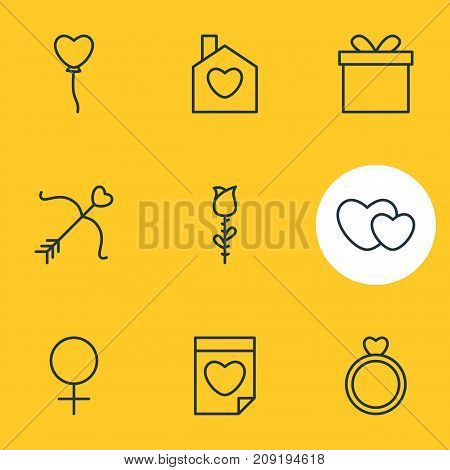 Editable Pack Of Engagement, Home, Woman And Other Elements.  Vector Illustration Of 9 Amour Icons.