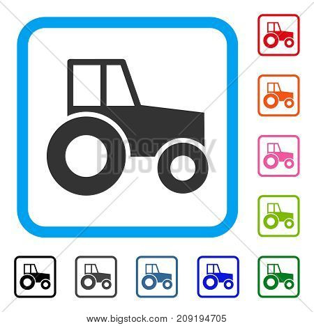 Wheeled Tractor icon. Flat gray iconic symbol in a light blue rounded square. Black, gray, green, blue, red, orange color variants of Wheeled Tractor vector. Designed for web and app interfaces.