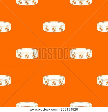 Bracelet with gems pattern repeat seamless in orange color for any design. Vector geometric illustration