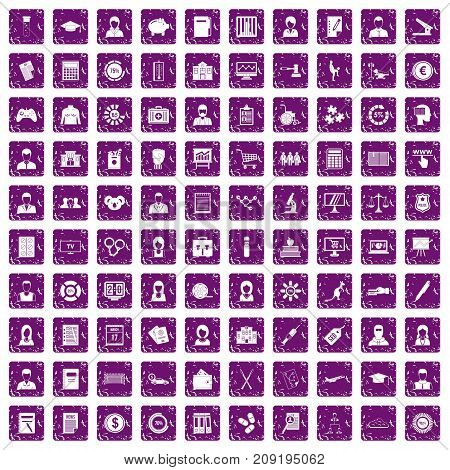 100 statistic data icons set in grunge style purple color isolated on white background vector illustration