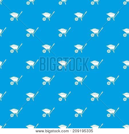 Wheelbarrow pattern repeat seamless in blue color for any design. Vector geometric illustration