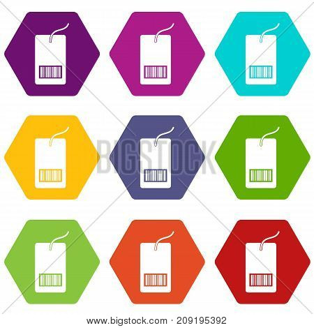 Tag with bar code icon set many color hexahedron isolated on white vector illustration