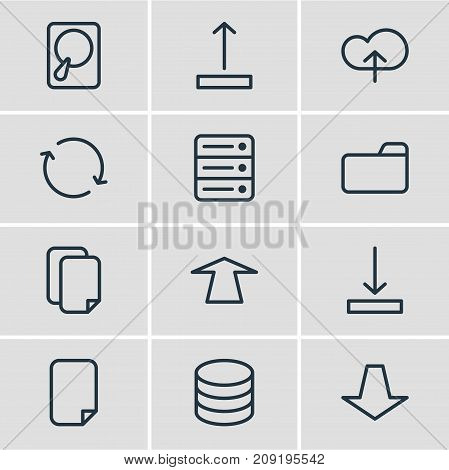 Editable Pack Of Upload, File, Downward And Other Elements.  Vector Illustration Of 12 Memory Icons.