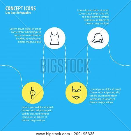 Editable Pack Of Singlet, Swimsuit, Hand Clock Elements.  Vector Illustration Of 4 Garment Icons.