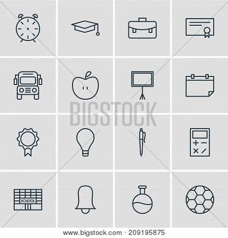 Editable Pack Of Calculate, Diploma, Car And Other Elements.  Vector Illustration Of 16 Education Icons.