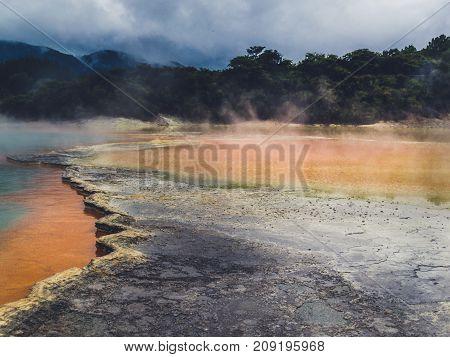 The orange pool at Rotorua, New Zealand