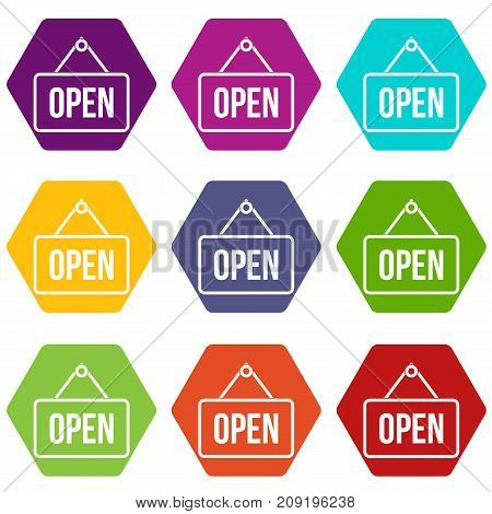 Sign open icon set many color hexahedron isolated on white vector illustration