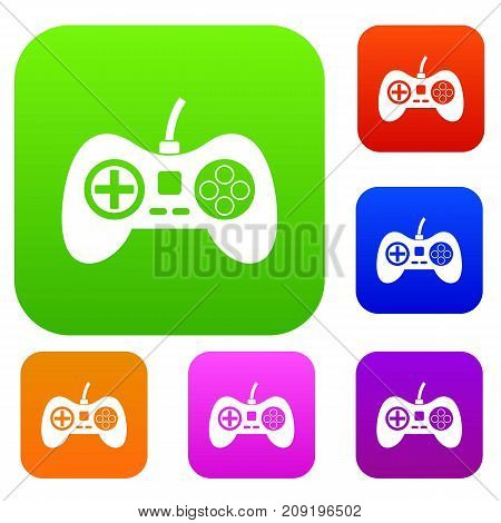 Video game console controller set icon color in flat style isolated on white. Collection sings vector illustration