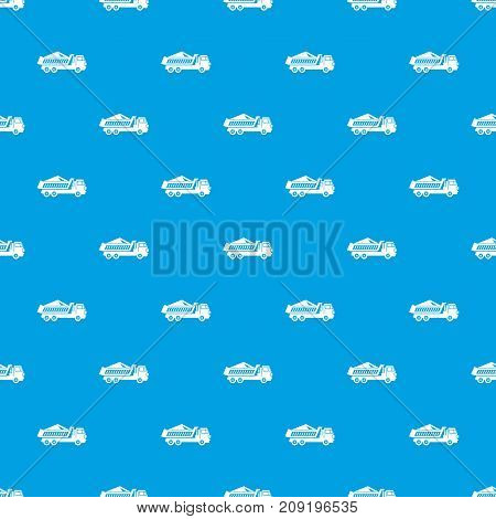 Dump track pattern repeat seamless in blue color for any design. Vector geometric illustration