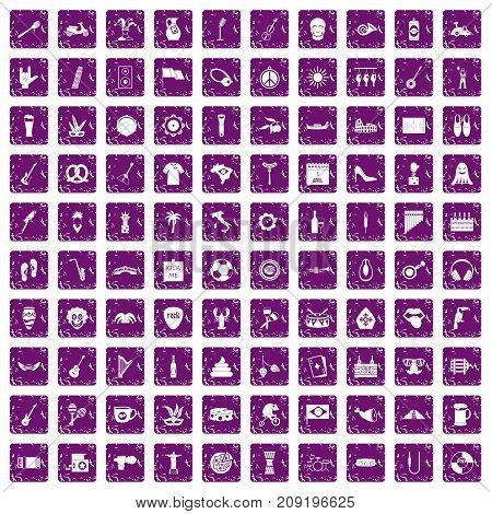 100 street festival icons set in grunge style purple color isolated on white background vector illustration