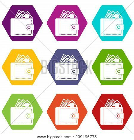 Purse with money icon set many color hexahedron isolated on white vector illustration