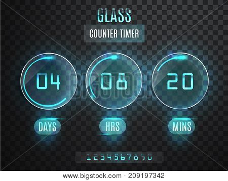 Glass Counter Timer. Transparent Vector Countdown Timer Isolated On Transparent Background. Neon Glo