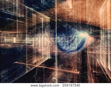 Futuristic collage with human eye and abstract computer-generated image - fractal. Dark concept technology, virtual reality or sci-fi background or trendy desktop wallpaper.