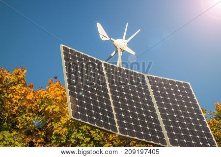 Small private Solar panels and rotor Renewable energy