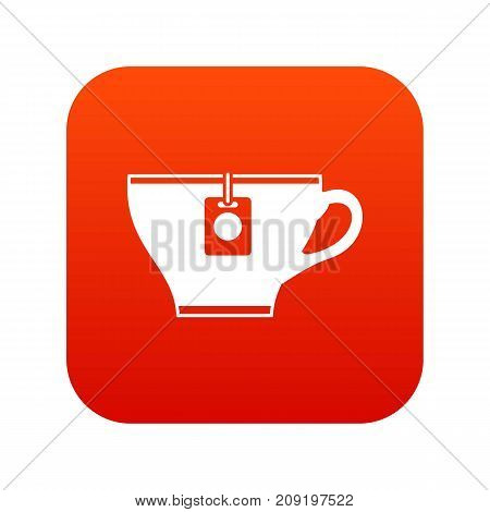 Cup with teabag icon digital red for any design isolated on white vector illustration