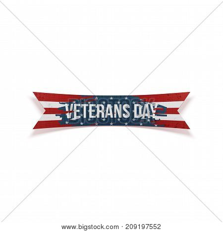 Happy Veterans Day vector bent Ribbon and Text