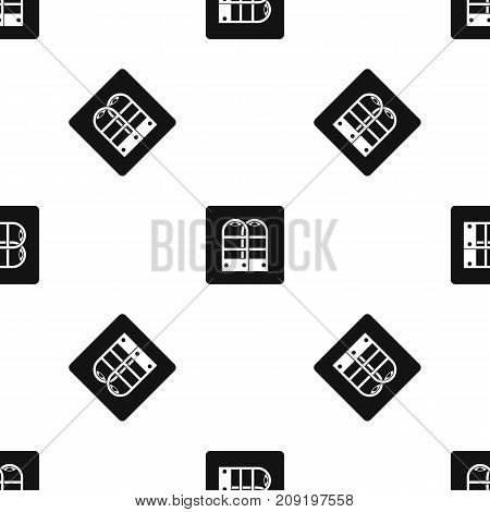 Shop security anti theft sensor gates pattern repeat seamless in black color for any design. Vector geometric illustration