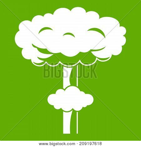 Nuclear explosion icon white isolated on green background. Vector illustration