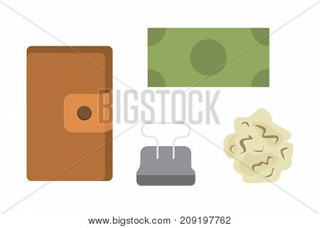 Workplace with documents. Office personal and Business Icons vector set. work table with gadget laptop flat illustration.