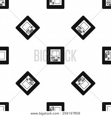 ATM bank cash machine pattern repeat seamless in black color for any design. Vector geometric illustration