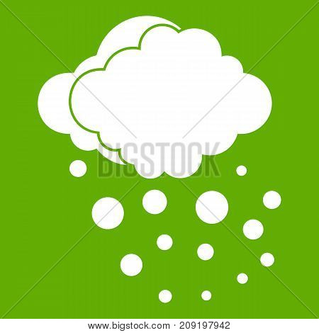 Cloud with hail icon white isolated on green background. Vector illustration