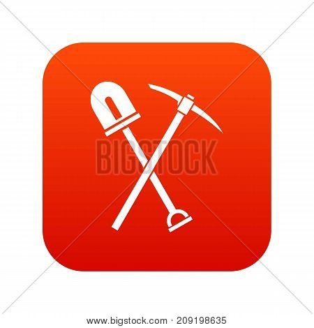 Shovel and pickaxe icon digital red for any design isolated on white vector illustration