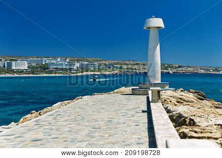 View from the from the coast port of Ayia Napa Mediterranean beach of Cyprus and hotels on a sunny day in autumn