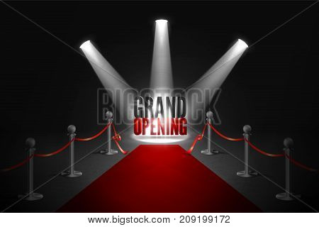 Red carpet between two barriers. Grand opening event in spotlights. Red ribbon cut ceremony.