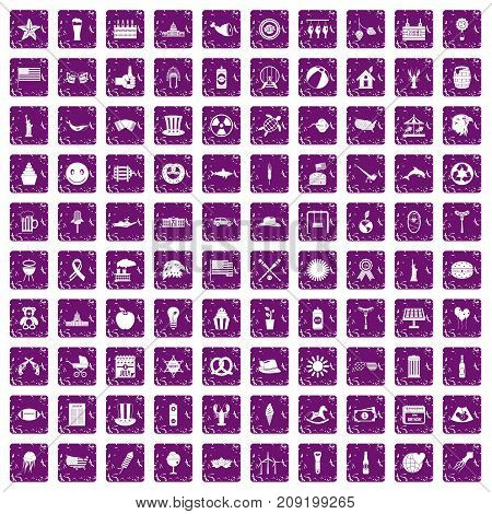100 summer holidays icons set in grunge style purple color isolated on white background vector illustration