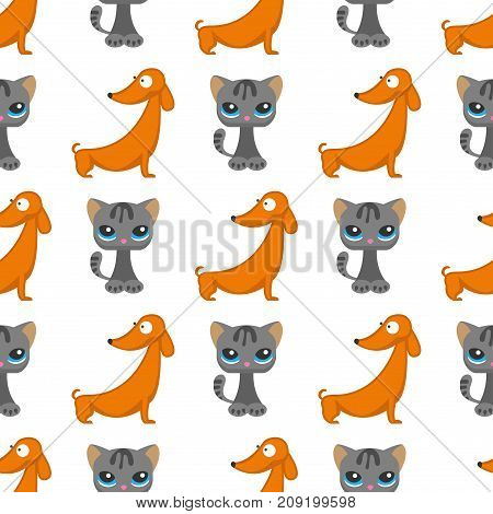 Cats dogs vector illustration cute animal funny decorative characters color abstract feline domestic trendy pet drawn. Happy mammal fur adorable breed seamless pattern background.