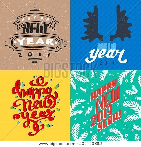 Vector 2017 Happy New Year background greeting holiday flayer brochure layout card design illustration. Decoration christmas banner for winter party.