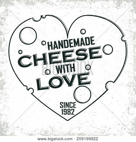 Vintage logo graphic design, print stamp, cheesemaker typography emblem, Creative design, Vector