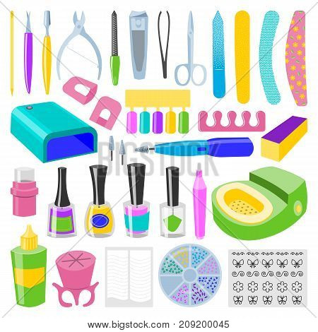 Manicure and pedicure foot hand health beauty fashion care fingers instruments vector personal cosmetics equipment. Hygiene hand care pedicure salon tweezers fingernail.
