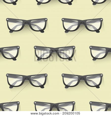 Fashion sunglasses seamless pattern background design retro accessory sun optical view spectacles vintage plastic frame modern eyeglasses vector illustration.