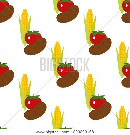 Corn, potato and tomato vector seamless pattern background illustration. Harvest time yield crop.