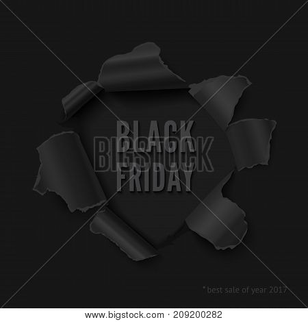 Black friday vector banner. Realistic vector torn paper hole