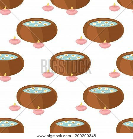 Vector illustrations of spa treatment beauty procedures wellness seamless pattern. Herbal cosmetics aroma candles and lotus flower. Relaxation health herbal background.