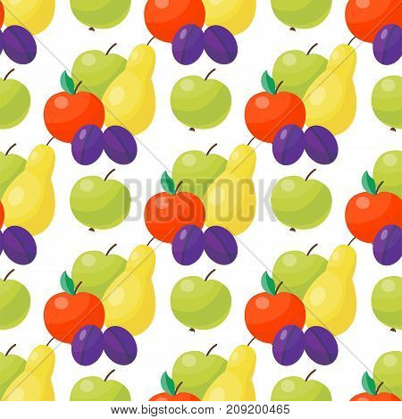 Apple background vector illustration. Textile green fruits seamless pattern. Natural sweet vegetarian healthy summer backdrop. Juicy vitamin wrapping paper design.