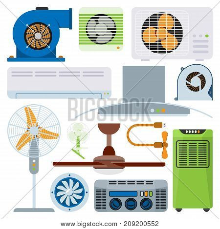 Ventilation system air condition ventilators equipment conditioning climate fan technology temperature coolers vector illustration. Blow acclimatization purifier blowing ventilation appliance.