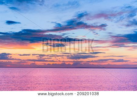 Sunset over Water Setting into the Sea