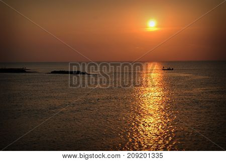 Sunset Fishing by Boat on Galveston Bay Texas