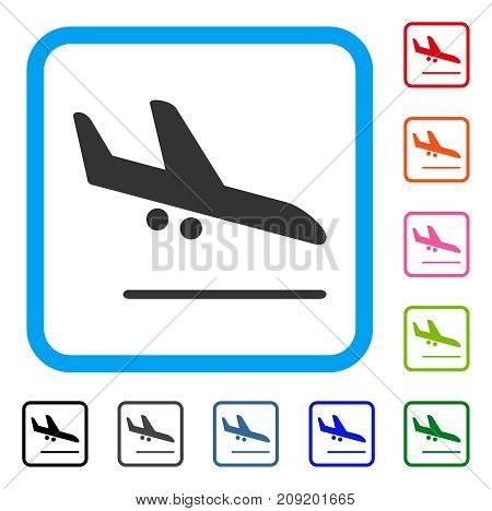 Aiplane Landing icon. Flat gray pictogram symbol in a light blue rounded rectangle. Black, gray, green, blue, red, orange color versions of Aiplane Landing vector.
