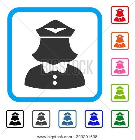 Airline Stewardess icon. Flat grey pictogram symbol inside a light blue rounded square. Black, gray, green, blue, red, orange color variants of Airline Stewardess vector.