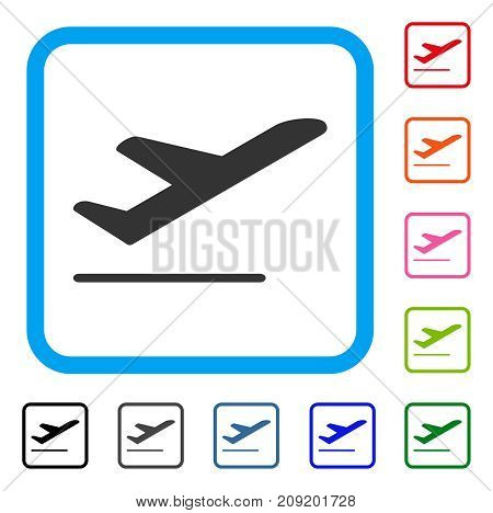 Airplane Departure icon. Flat gray iconic symbol inside a light blue rounded square. Black, gray, green, blue, red, orange color variants of Airplane Departure vector.