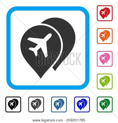 Airport Map Markers icon. Flat gray pictogram symbol in a light blue rounded rectangle. Black, gray, green, blue, red, orange color variants of Airport Map Markers vector.