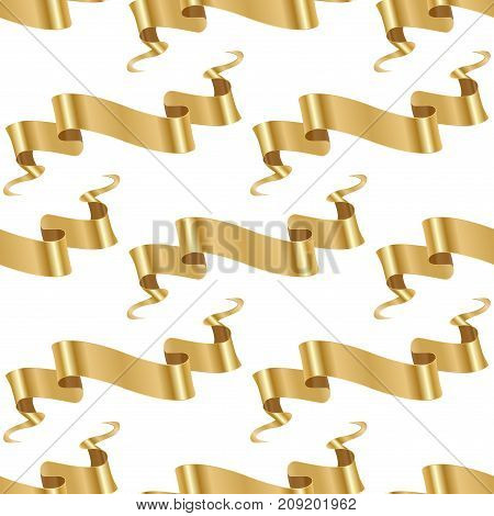 Realistic gold vector ribbons tape flag seamless pattern background banner with stitch detailing for your design project. Shiny bow decorative elegance graphic template. Xmas classic glossy scroll.