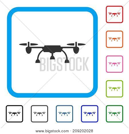 Drone icon. Flat grey iconic symbol in a light blue rounded rectangle. Black, gray, green, blue, red, orange color versions of Drone vector. Designed for web and application interfaces.