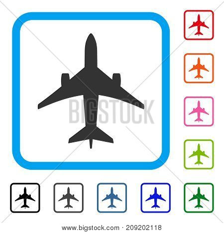 Jet Plane icon. Flat gray iconic symbol inside a light blue rounded frame. Black, gray, green, blue, red, orange color additional versions of Jet Plane vector.